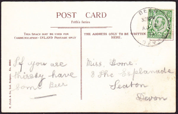 76178 - DEVON. 1912 post card of Beer to Seaton with KGV ½...