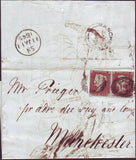 76336 - 1845 ENTIRE LONDON TO MANCHESTER, SKETCH OF WRITER WITHIN. Letter