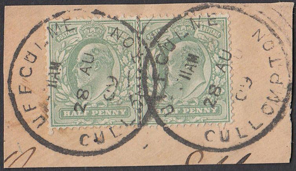 76346 - DEVON. 1908 small piece with KEDVII ½d x 2 cancell...
