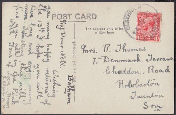 76352 - DEVON. 1928 post card to Taunton with KGV 1d cance...
