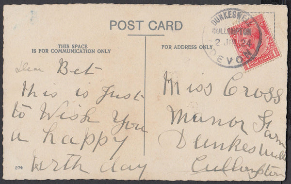 76363 - DEVON. 1924 post card to Dunkeswell with KGV 1d ca...
