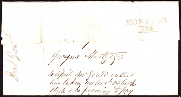 76441 - 1823 DEVON/HONITON MILEAGE MARK (DN754). Wrapper Honiton to Exeter dated 31st M...