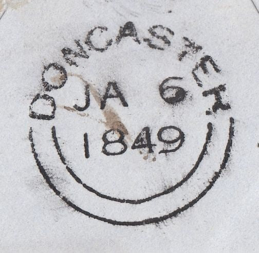 76461 - 1849 REGISTERED MAIL LEICESTER TO DONCASTER. Fine envelope Leic...