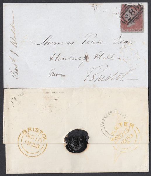 76512 - 1853 DEVON/'WHIPTON' UDC/PL.170(GB)(SG8). 1853 wrapper Exeter to Br...