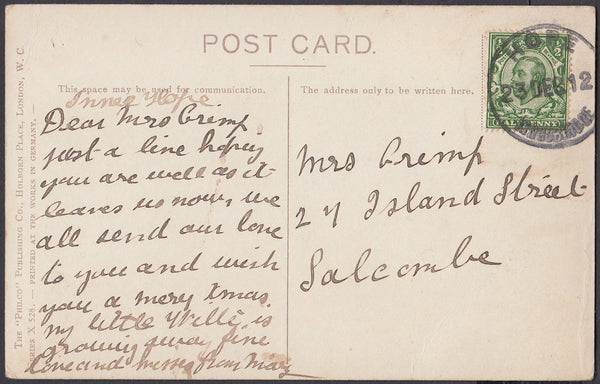 76546 - DEVON. 1912 post card to Salcombe with KGV ½d Down...