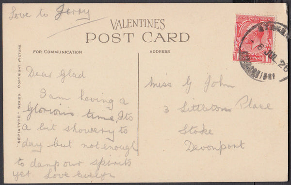 76598 - DEVON. 1926 post card of Torcross to Devonport wit...