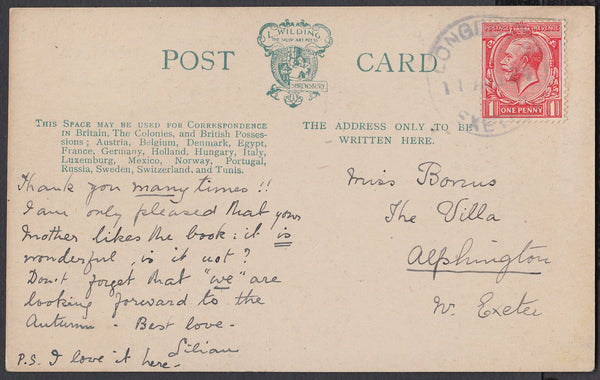 76621 - DEVON. 1924 post card to Alphington with KGV 1d ca...