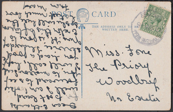76631 - DEVON. 1916 post card used locally with KGV ½d can...