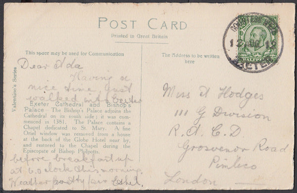 76632 - DEVON. 1912 post card of Exeter Cathedral to Londo...