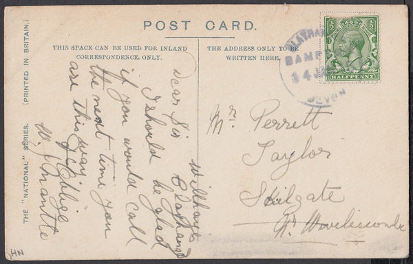 76652 - DEVON. 1915 post card of Kirkstall Abbey, Leeds to...
