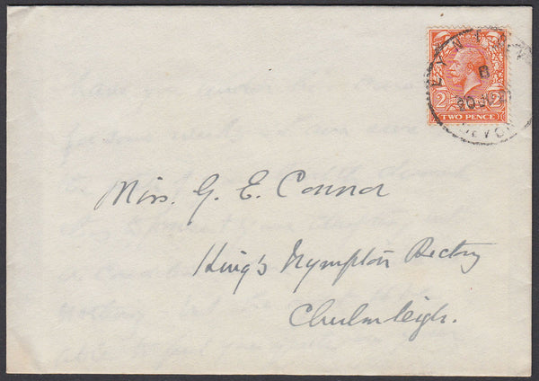 76658 - DEVON. 1921 envelope with letter Lynton to Chulmle...