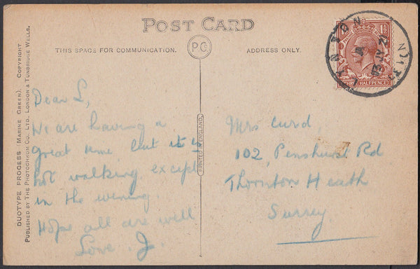 76659 - DEVON. 1921 post card of Lynmouth to Surrey with K...
