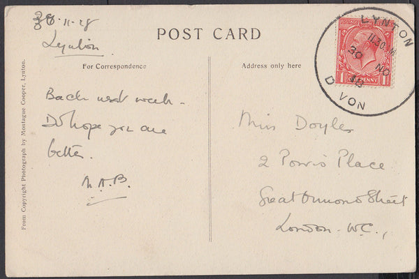 76661 - DEVON. 1918 post card of Woody Bay to London with ...