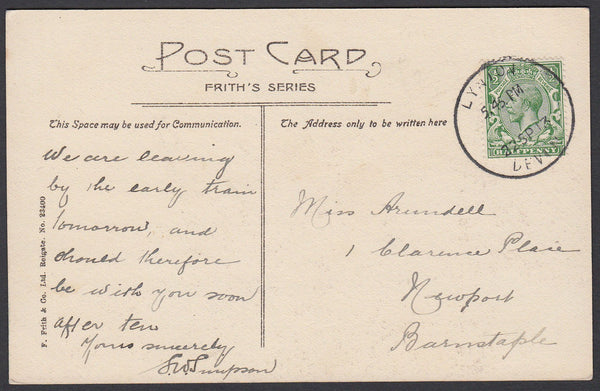 76663 - DEVON. 1913 post card Lynton to Barnstaple with KG...