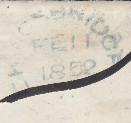 76706 - PL.121 (AG)(SG8)/'418' OF KINGSBRIDGE (DEVON) IN BLUE ON MOURNING COVER. Fine