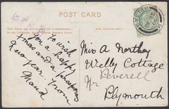 76750 - DEVON. 1909 post card to Plymouth with KEDVII ½d c...