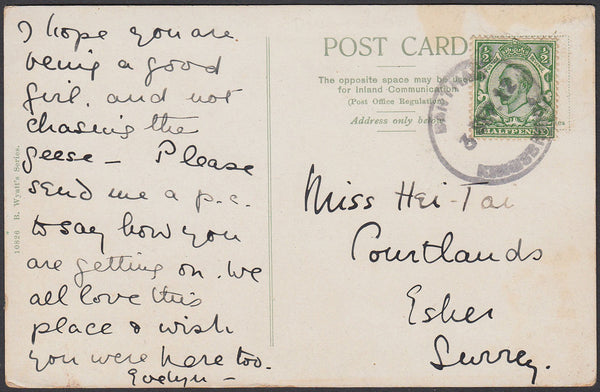 76809 - DEVON. 1912 post card of Bantham to Surrey with KG...