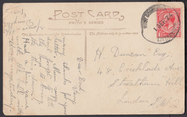 76817 - DEVON. 1924 post card of epitath to London with KG...