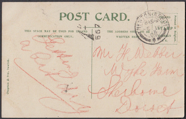 76841 - 1908 UNPAID MAIL/DEVON. Post card of Drewsteignton...