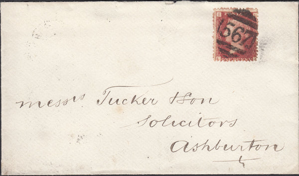 76843 - 1879 '567.' 3VOS NUMERAL OF NEWTON ABBOT ON COVER TO ASHBURTON. Fine envelope