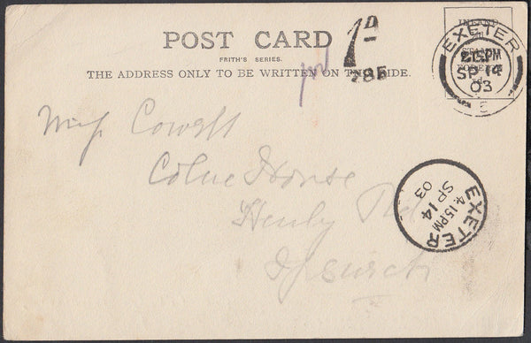 76856 - 1903 UNPAID MAIL EXETER TO IPSWICH. Post card of Exeter to Ips...