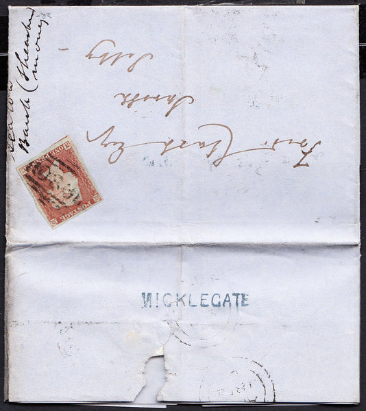 77016 - YORKSHIRE 'MICKLEGATE' STRAIGHT LINE HAND STAMP (YORK)/PL.173 (NC)(SG8) STATE ONE. 1854 entire...