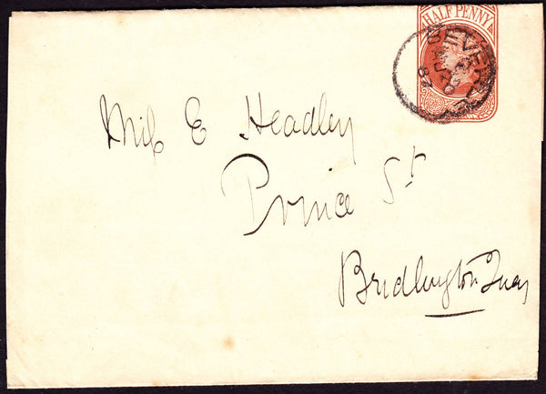 77179 - 1887 YORKSHIRE/BEVERLEY CDS ON WRAPPER. Fine used QV ½d brown newspaper w...