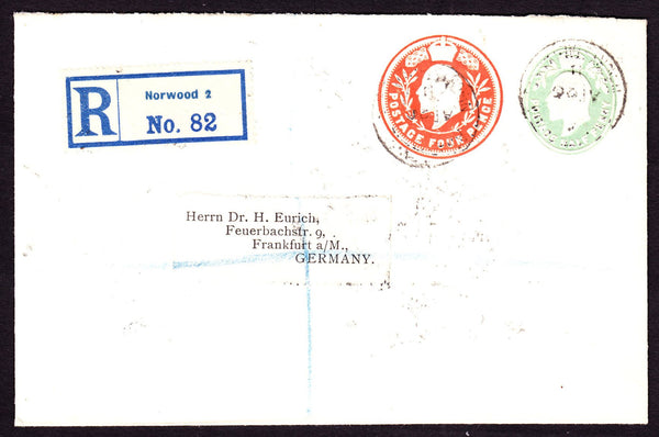 77365 - 1911 REGISTERED MAIL NORWOOD TO GERMANY. Envelope sent registered mail Norwood to Fran...