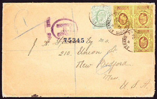 77368 - 1907 REGISTERED MAIL LONDON TO USA/3 x 3D UNUSUAL FRANKING. Envelope sent registered mail London to New B...