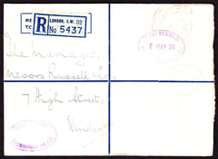 77371 - 1938 REGISTERED MAIL EX BUCKINGHAM PALACE. Registe...