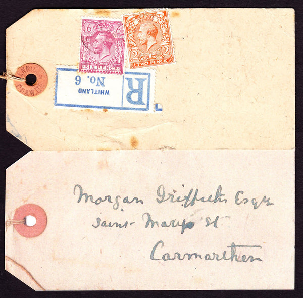 77382 - KGV PARCEL TAG. Undated tag addressed to Carmarthe...