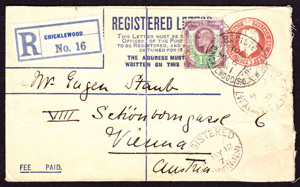 77387 - 1912 REGISTERED MAIL CRICKLEWOOD TO AUSTRIA/MIXED REIGNS. KGV 3d red-brown registered envelope Cricklewood to Vie...