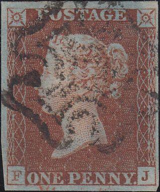 77422 - 1841 1D RED PL. 5(FJ)(SG7). Fine used lettered FJ with...