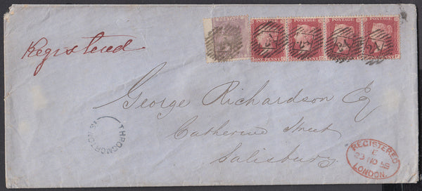 77478 - 1859 REGISTERED MAIL LONDON TO SALISBURY/PL.44 (HC HD HE HF)(SG40). Large envelope