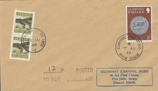 77583 - 1986 envelope Guernsey to Jersey with 8p Guernsey ...