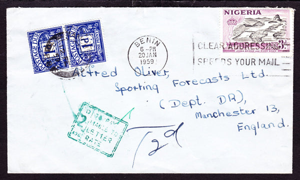 77619 - 1959 UNDERPAID MAIL NIGERIA TO THE UK. Envelope Nigeria to Manchester with Nigerian ...