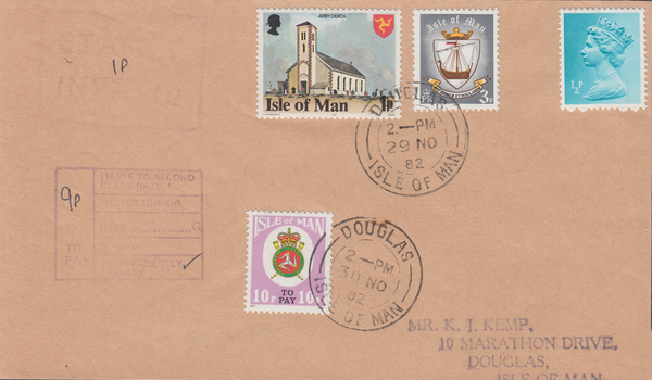 77624 - 1982 envelope used locally in the Isle of Man with...