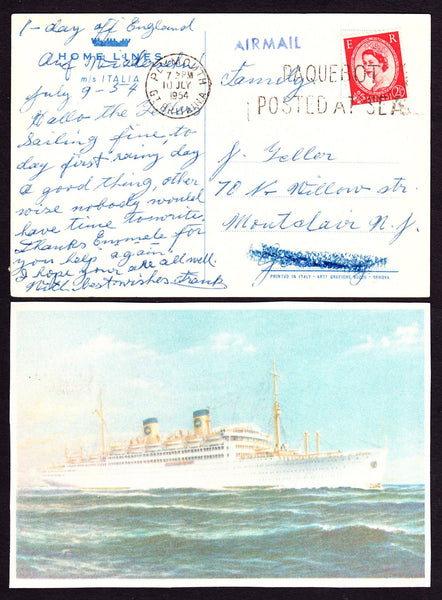 "77688 - 1954 post card of ""S.S.ITALIA"" to Germany with 2½d..."