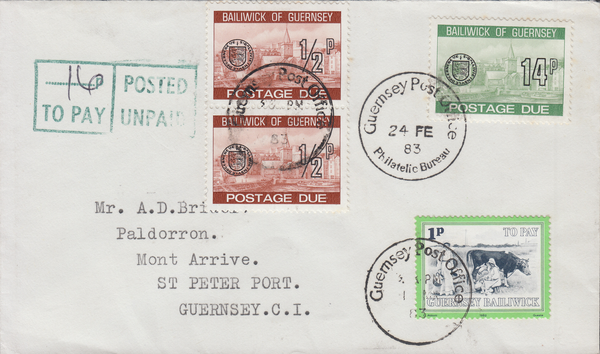 77704 - 1983 envelope used locally in Guernsey postage unp...