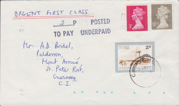 77707 - 1983 envelope Plymouth to Guernsey with 3p and 11½...