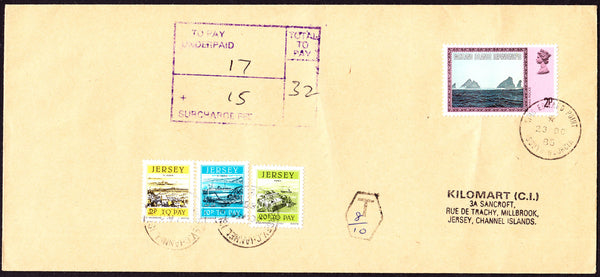 77717 - 1985 UNDERPAID MAIL FALKLAND ISLES TO JERSEY. Large envelope (228x103) South Georgia to Jersey with 2p Falk...