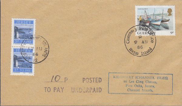 77722 - 1986 envelope Guernsey to Jersey with Guernsey 9p ...