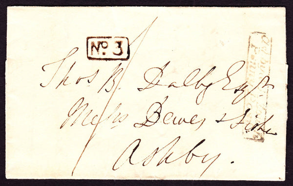 77742 - LEICS/'ASHBY DE LA ZOUCH PENNY POST' HAND STAMP (LC14)/'ASHBY DE LA ZOUCH' UDC (LC12).by on front f...