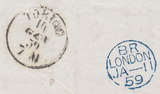 77761 - 1859 MAIL LONDON TO ITALY/LATE FEE/PL.44(KJ)(SG40). Lett...