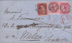 77766 - 1858 MAIL TO ITALY/LATE FEE/PL.60 (CE) (SG40). Ent...