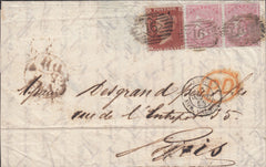 77771 - 1855 4D SMALL GARTER (SG62) x2 ON COVER/LATE FEE/SG26...
