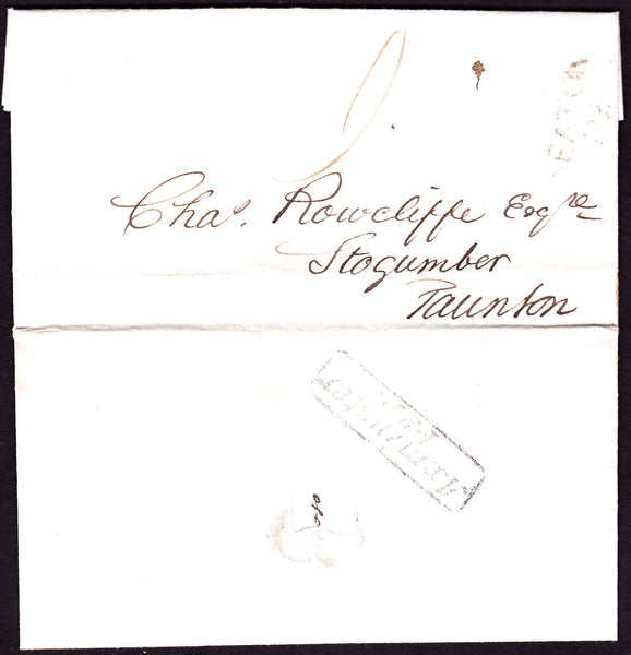 77827 - 1838 DEVON/AXMINSTER PENNY POST. Entire Seaton to Taunton dated 27 Janu...