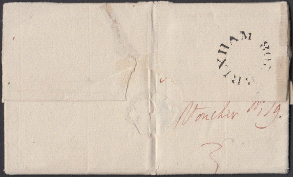 77990 - DEVON. 1827 Letter Brixham to Plymouth dated March...