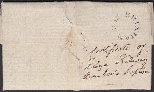 77991 - DEVON. 1827 letter Brixham to Plymouth dated 23 Ap...