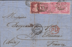 78070 - 1857 MAIL TO FRANCE/LATE FEE. Wrapper to St Etienn...